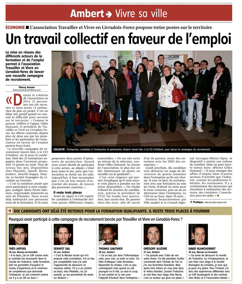 """""""Un travail collectif en faveur de l'emploi"""" - La Montagne 04/11/2016"""