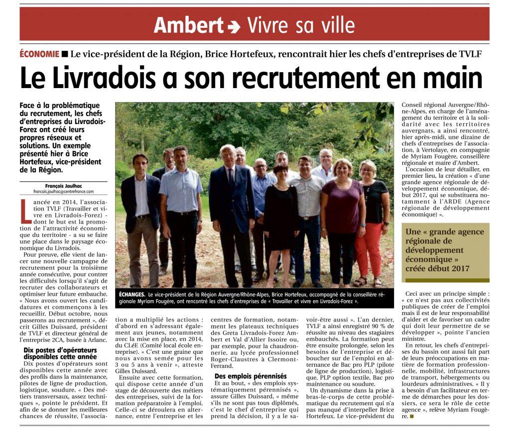 """""""Le Livradois a son recrutement en main"""" - La Montagne 12/09/2016"""