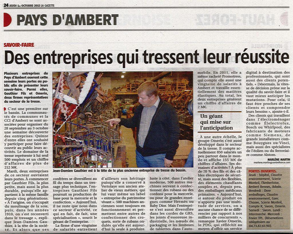 """""""Des entreprises qui tressent leur réussite"""" - La Gazette 01/10/2015"""