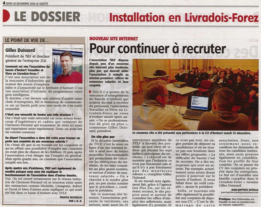 """""""Pour continuer à recruter"""" - La Gazette 15/12/2016"""