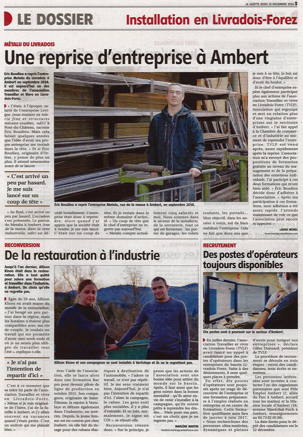 """""""Une reprise d'entreprise à Ambert"""" - La Gazette 15/12/2016"""