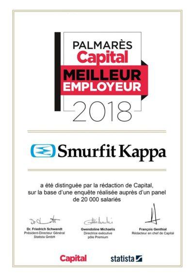 Smurfit Kappa: meilleur employeur en 2018